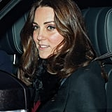 Kate Middleton Black Furry Coat at Christmas Lunch 2017