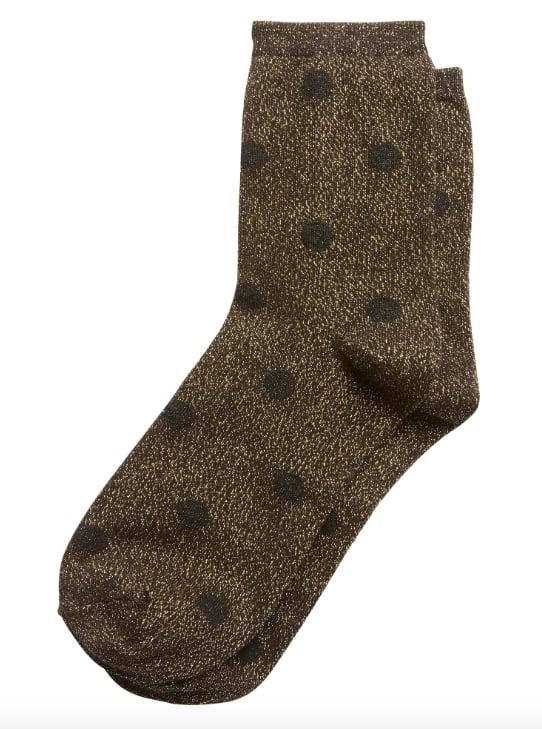 Metallic Polka Dot Crew Sock