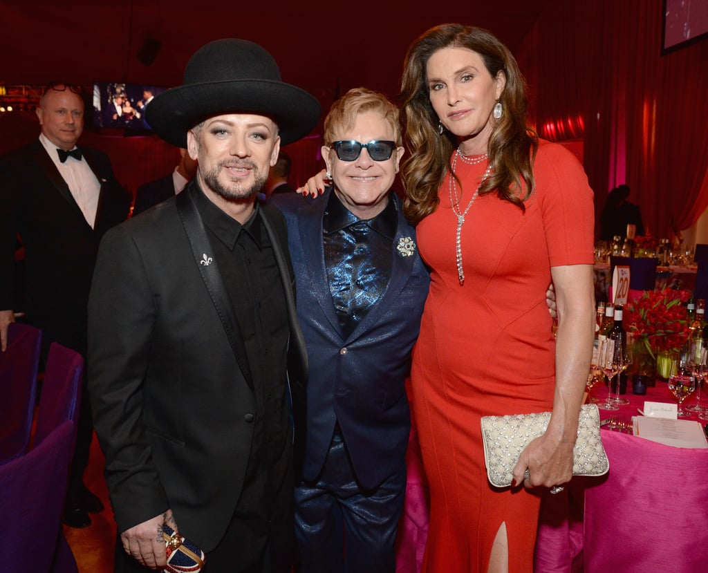 A collection of stars made their way to Elton John's annual Oscars bash in West Hollywood, CA, on Sunday night. In addition to fun appearances by Brittany Snow, Hilary Swank, and Steven Tyler, Mariah Carey arrived without fiancé James Packer but linked up with Elton inside. Also at the event, which benefitted the AIDS Foundation, was Caitlyn Jenner, Ian Somerhalder and his wife, Nikki Reed, and Lea Michele, who was all smiles following her recent breakup. Oscars night has just begun, so keep reading for more pictures, and then check out the winners — so far!