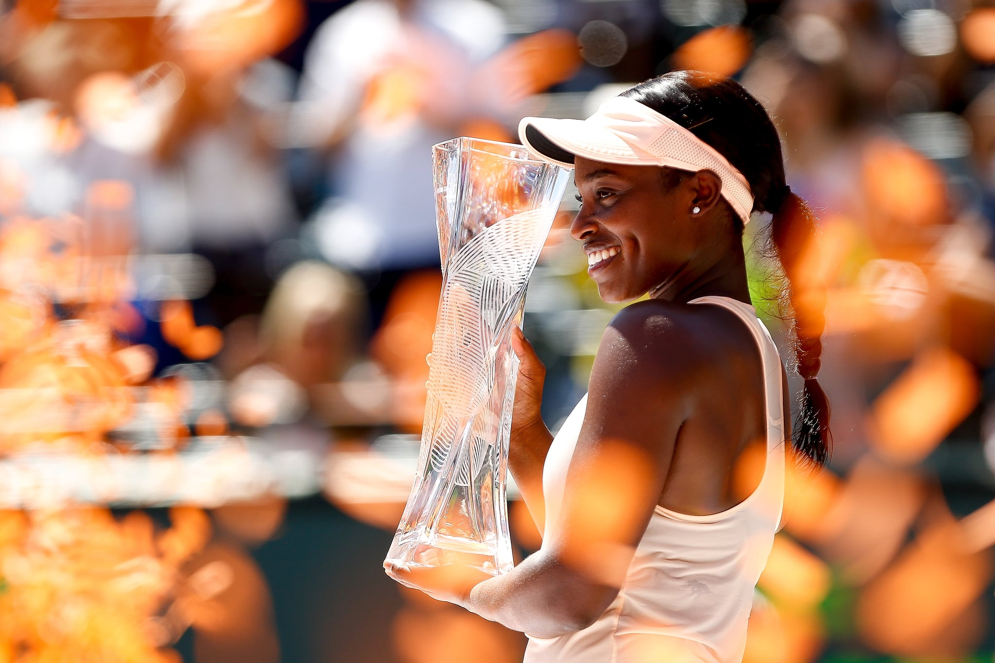 KEY BISCAYNE, FL - MARCH 31:  Sloane Stephens of the United States celebrates after defeating Jelena Ostapenko of Latvia in the women's final on Day 13 of the Miami Open Presented by Itau at Crandon Park Tennis Center on March 31, 2018 in Key Biscayne, Florida.  (Photo by Michael Reaves/Getty Images)