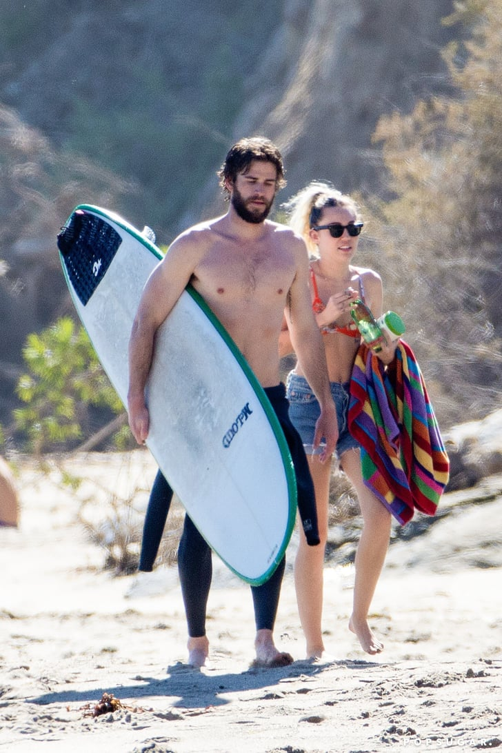 Miley Cyrus and Liam Hemsworth on the Beach in Malibu 2017 ...