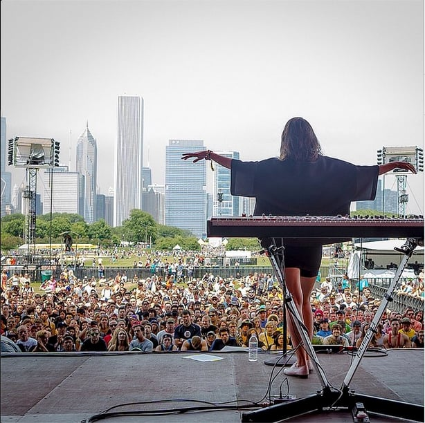 Singer Francisca Valenzuela took to the stage . . . and had quite a view.  Source: Instagram user franciscamusic