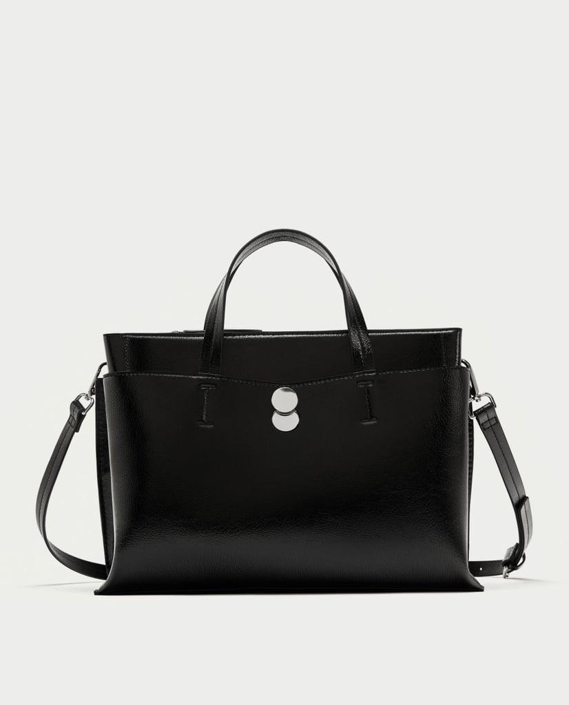 Zara City Bag With Fastener Detail