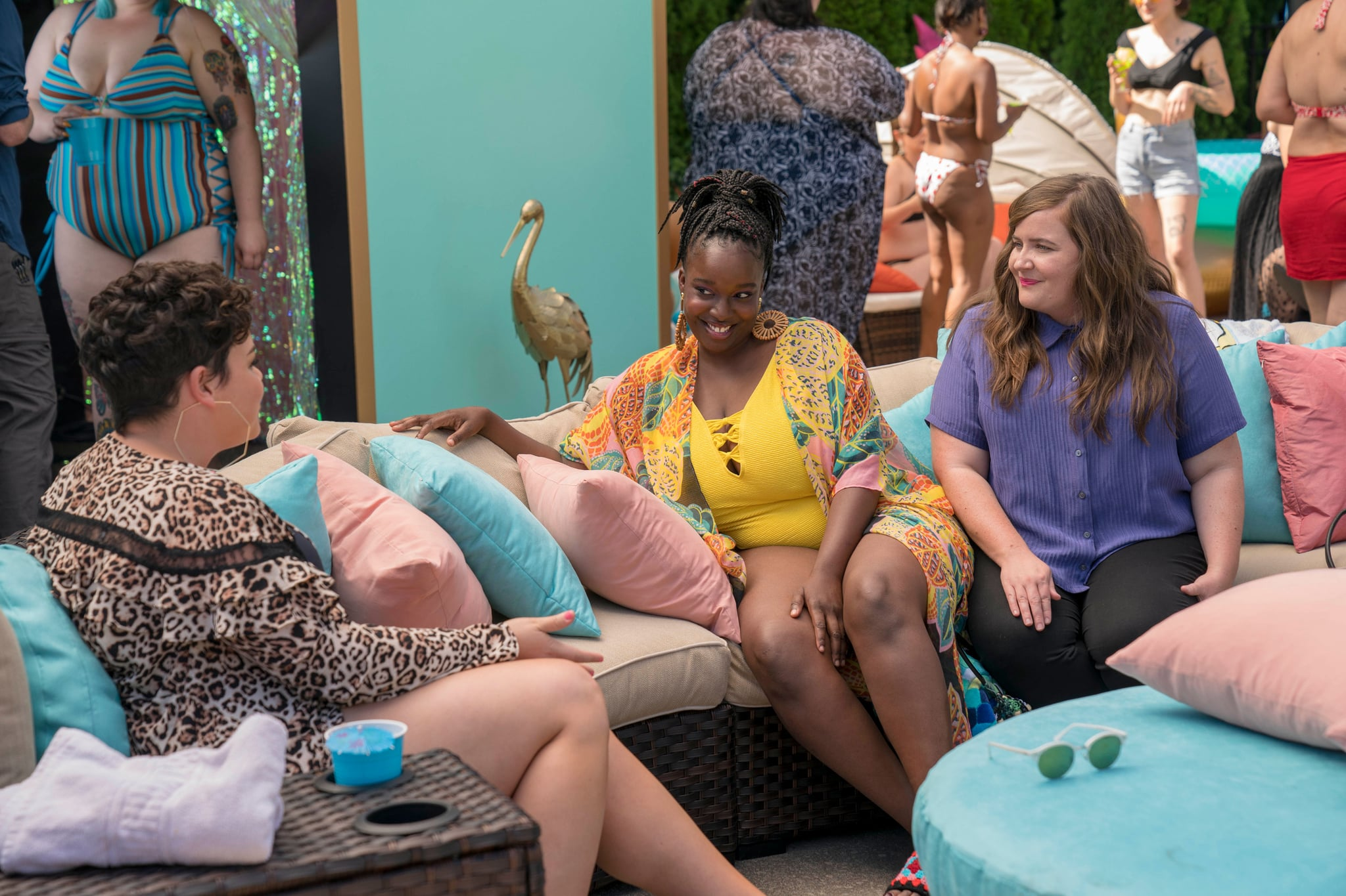 SHRILL, from left: Melanie Field (back to camera), Lolly Adefope, Aidy Bryant, (Season 1, ep. 104, aired March 15, 2019). photo: Allyson Riggs / Hulu / courtesy Everett Collection