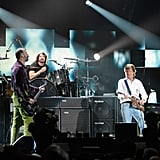 Krist Novoselic, Dave Grohl, and Paul McCartney performed on stage at the 12-12-12 Robin Hood Relief Fund concert in NYC.