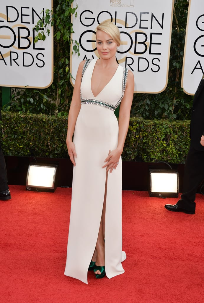 Wearing a Gucci dress to the Golden Globes in 2014.