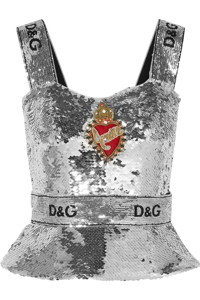 Dolce & Gabbana Embellished sequined tulle bustier top