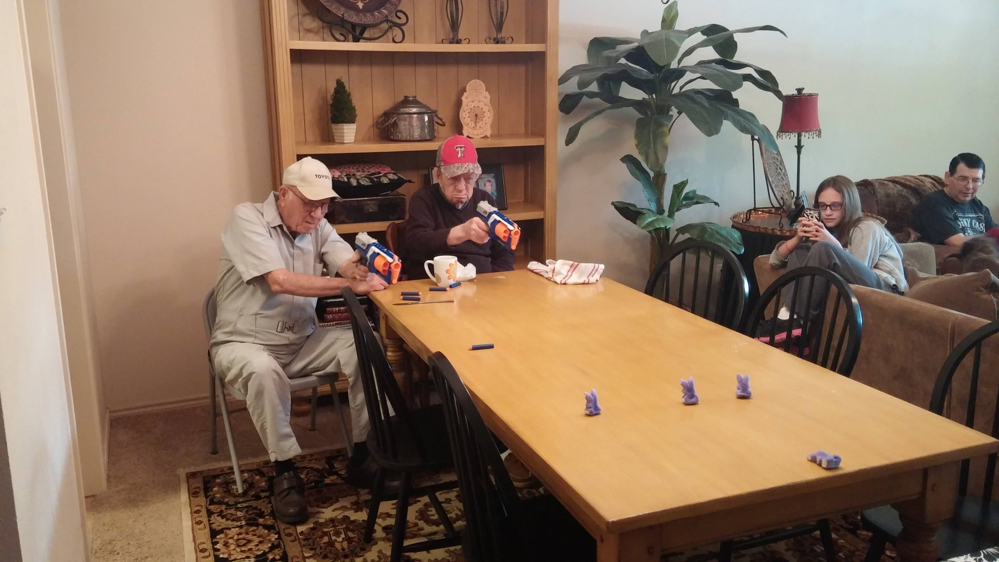 """""""Why is Nerf marketed to kids? I've never seen two 84 year olds have more fun."""" Source: Reddit user knicoled via Imgur"""