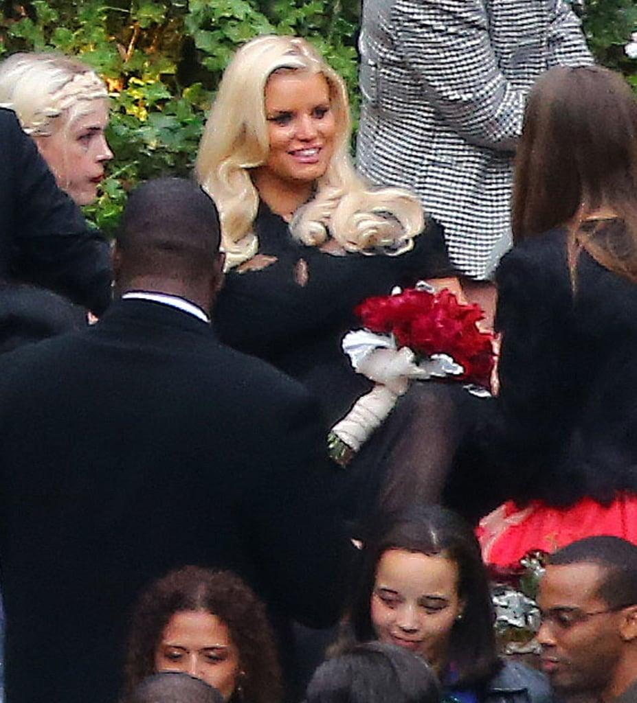 Jessica Simpson mingled at CaCee Cobb and Donald Faison's wedding.