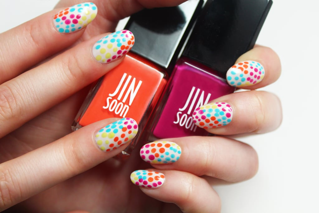 Polka dot nail art popsugar beauty a toothpick is all you need to get this bright polka dot nail art prinsesfo Gallery