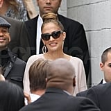 Jennifer Lopez smiled at her security staff.