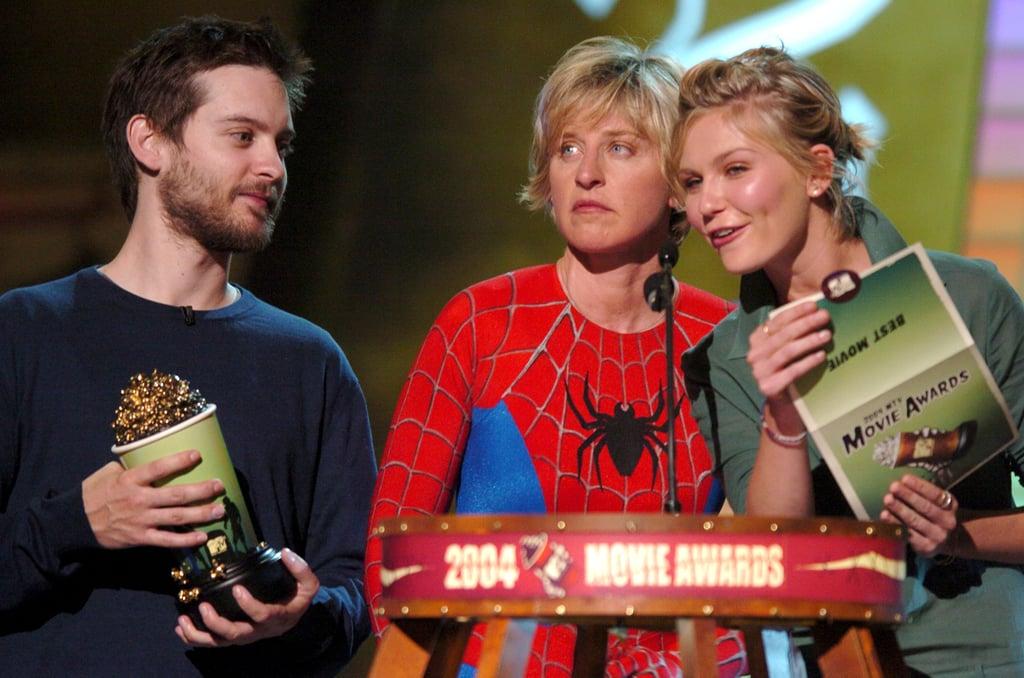Tobey Maguire, Ellen DeGeneres, and Kirsten Dunst