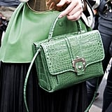 Miroslava Duma totes a sweet bag with an exotic finish.