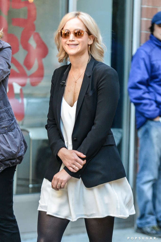 """Jennifer Lawrence was seen filming with Diane Sawyer on Saturday, and the actress looked happy and relaxed while walking around the streets of NYC. It's been a busy October for Jennifer, who is currently filming the movie Passengers alongside Chris Pratt. She kicked off the month by hanging out with Chris, Aziz Ansari, and pal Amy Schumer, which resulted in a hilarious """"short film"""" that Aziz shared on Instagram. Keep reading to see more snaps from Jennifer's day, then go through all the reasons Jennifer would make the best BFF."""