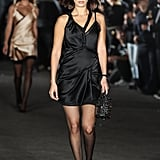 "Bella Wore a Black Satin Minidress With a ""Party Animal"" Crown on Alexander Wang's Runway"