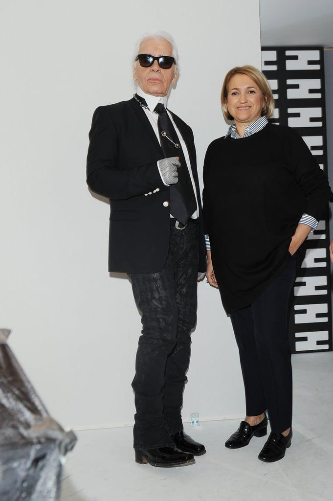 Karl Lagerfeld and Silvia Venturini Fendi at the Fendi Fall 2013 show in Milan.