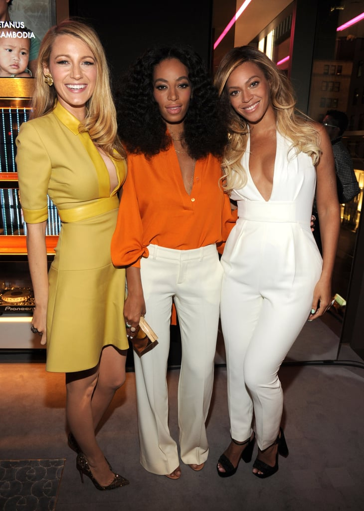 Queen Bey met one of the queens of Gossip Girl when Beyoncé and Blake Lively linked up for a Chime For Change cocktail reception in NYC on Tuesday night. Other guests included Beyoncé's sister, Solange Knowles, Gucci spokesman James Franco, and Gucci's creative director, Frida Giannini. Chime For Change was founded last year by Beyoncé, Frida and Salma Hayek, who is married to François-Henri Pinault, the CEO of Kering, the company that owns Gucci. The cocktail hour was meant to celebrate the one-year anniversary of the Chime For Change concert in London, which featured performances by Beyoncé, Jay Z and Jennifer Lopez and had an A-list roster of celebrity presenters, including Blake, James, Jessica Chastain and Madonna. Beyoncé also used the occasion as a change to announce that she will be donating $500,000 to charities aimed at girls and women. Beyoncé didn't have to travel far for her party night with her sister, as she is currently holidaying in the Hamptons with Blue Ivy Carter and Jay. The singer shared several sweet photos of her relaxing country retreat, although she apparently ditched the mile-long braids she had been sporting for the past few weeks when she journeyed into the city. The party wasn't just about Bey's foundation, as it also celebrated her new feature in T: The New York Times Style Magazine.