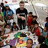 On Thursday, David Beckham visited typhoon victims in the Philippines.