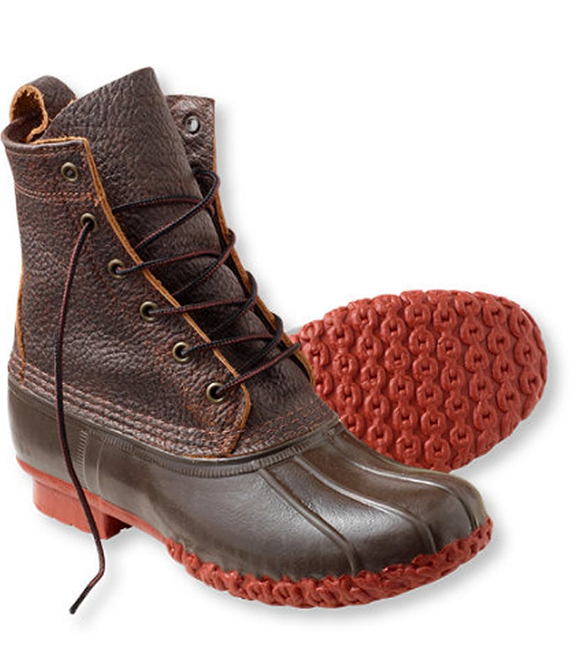 "I am from the Northeast, so no Fall and Winter season would be complete without a pair of Bean boots. If you are looking for a Bean boot with some subtle style, go with the Bison 8"" Boot by L.L. Bean ($129). You're still getting the same all-weather, waterproof duck boot that L.L.Bean is so well known for, but with an upgrade from the highly textured dark brown leather and rust colored sole. The best part is that these boots will only get better as you beat them up.  — Robert Khederian, fashion editorial assistant"