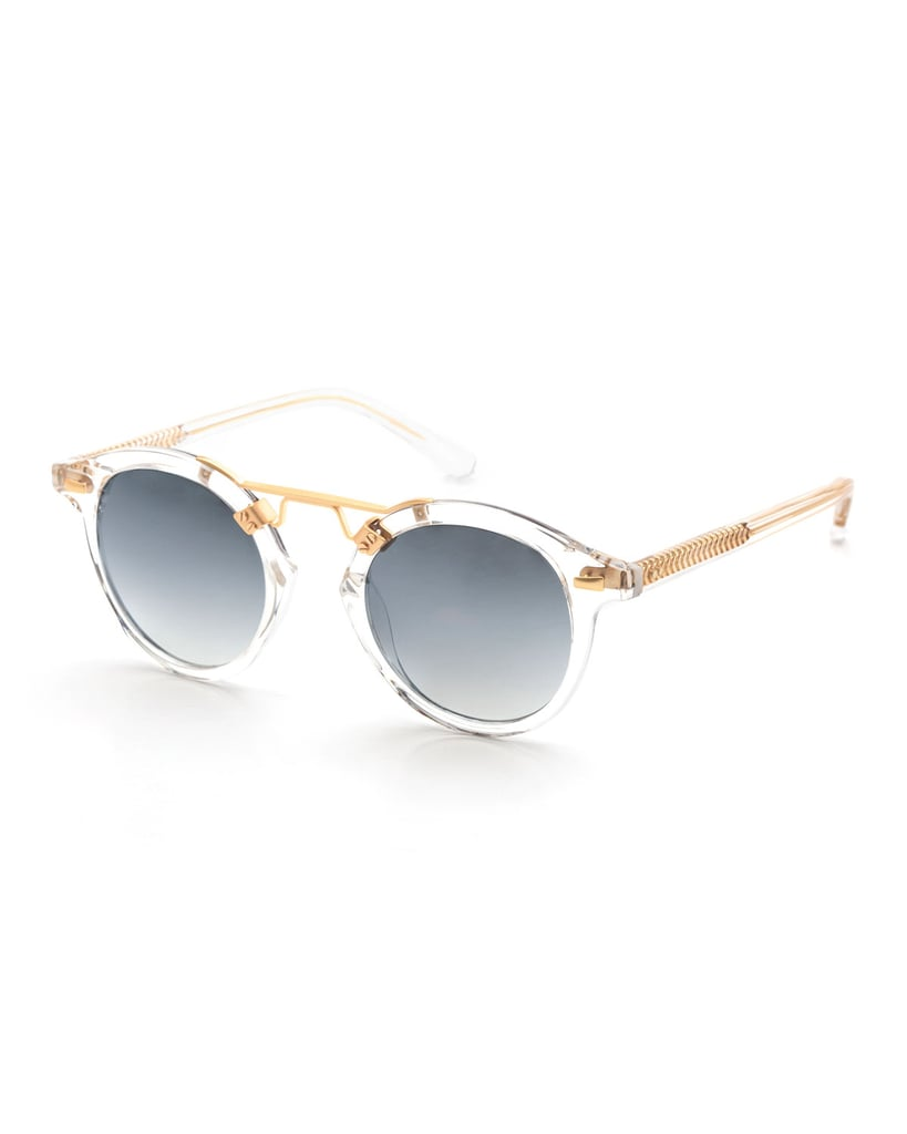 Krewe St. Louis Transparent Round Mirrored Sunglasses