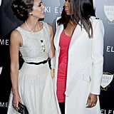 Jessica Alba and Jennifer Hudson smiled at one another.
