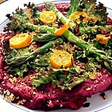 Roasted Garlic-Beet Socca Pizza