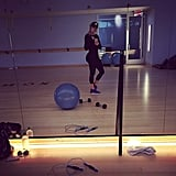 "Skipping a weekend workout is not an option for Khloé! She captioned this Instagram with one word: ""Saturday."""