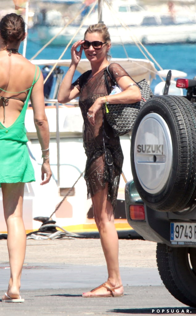 Kate Moss spent her Saturday at the beach.