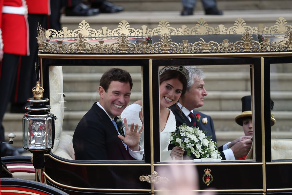 "Princess Eugenie and Jack Brooksbank officially tied the knot on Friday in a gorgeous ceremony at St. George's Chapel in Windsor. While there were many elements of the wedding that were similar to Prince Harry and Meghan Markle's ceremony at the same location back in May, we can all agree that the one major difference is absolutely the weather. It's been a long time since a royal wedding took place in October — in fact, the last time was in 1993 for the nuptials of now-Earl of Snowdon and Serena Stanhope — and, well, we think the wind might have something to do with that statistic! The wind was strong at Eugenie's wedding: fascinators were flying away, elegant dresses were blown upward, and the general public looked on as they held onto their headwear for dear life. ""It's like winddddd on your wedding day."" It was initially believed that Eugenie and Jack would ride in an open-top State Landau carriage, like the one Harry and Meghan used after their ceremony, but Mother Nature had other plans, and so did the newlyweds.  According to People, Eugenie and Jack opted for a Scottish State Coach. ""Originally known as the Cambridge Coach, the Scottish State Coach was remodeled in 1968 on the Queen's instruction to create a coach specifically for Scotland. The emblems of the Order of the Thistle, the highest order of chivalry in Scotland, and the Scottish version of the Royal Arms were painted on the sides,"" the site reports. The couple departed St. George's Chapel in the closed-top carriage, avoiding any possibilities for that gorgeous emerald tiara to fly away, and made their way through a ""short carriage procession"" through Windsor Castle ""along part of the High Street,"" before returning to the Castle, according to Kensington Palace. Read on to see photos of Princess Eugenie and Jack in their historic closed-top carriage and see their gorgeous newlywed glow.      Related:                                                                                                           Here Comes the Bride! See Every Photo From Princess Eugenie and Jack Brooksbank's Wedding"
