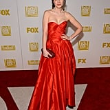 Zooey Deschanel posed solo on the Fox red carpet.