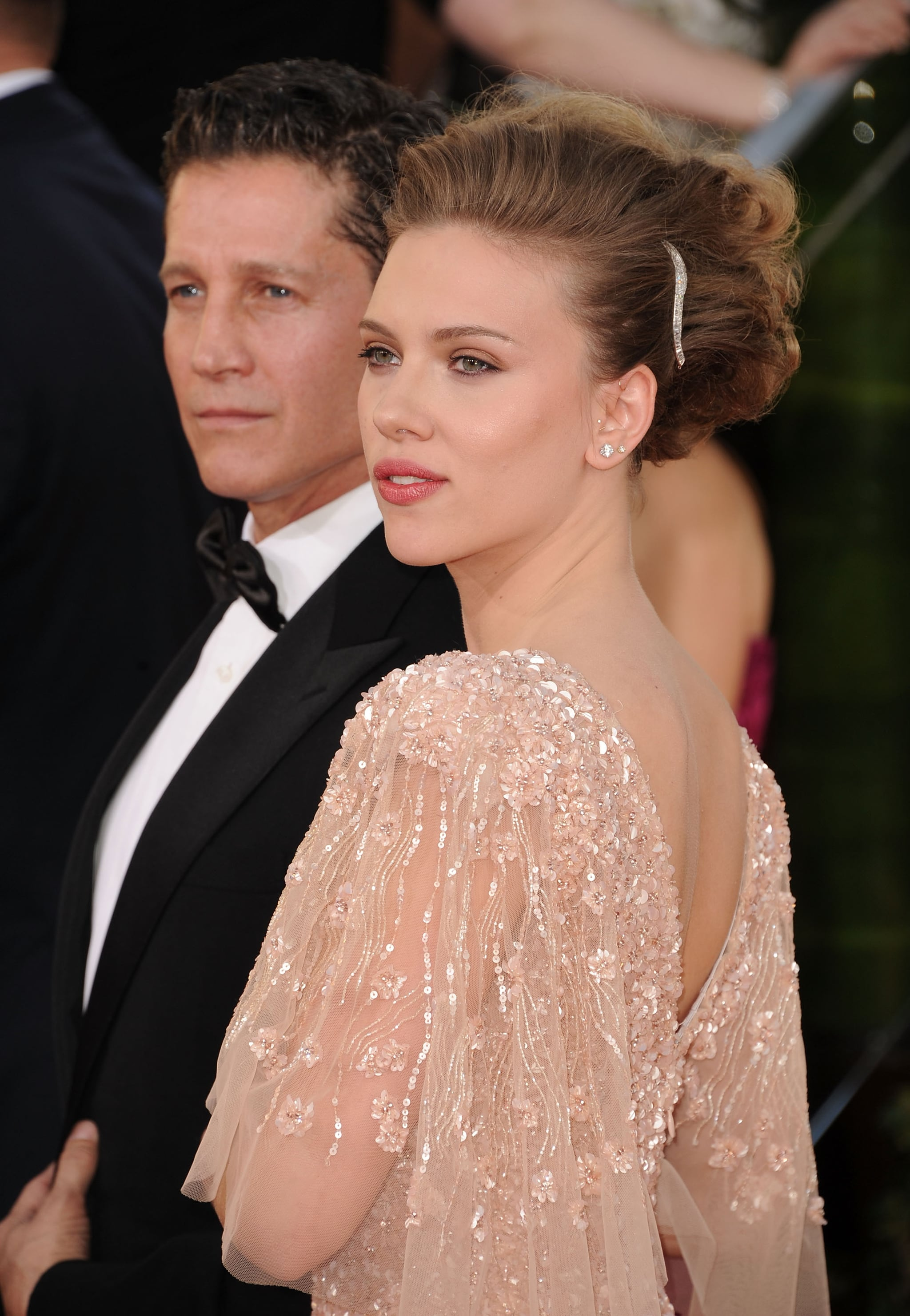 Scarlett Johansson Sparkles in Elie Saab on First Post-Split Red Carpet