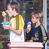 Brooklyn and Romeo Beckham snacked on sweet treats!
