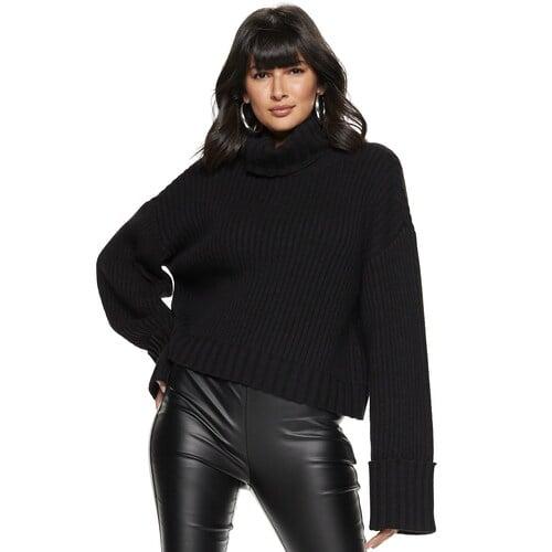 Nine West Petite Cuff-Sleeve Turtleneck Sweater