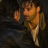 Jeffrey Dean Morgan as Negan and Andrew Lincoln as Rick Grimes.