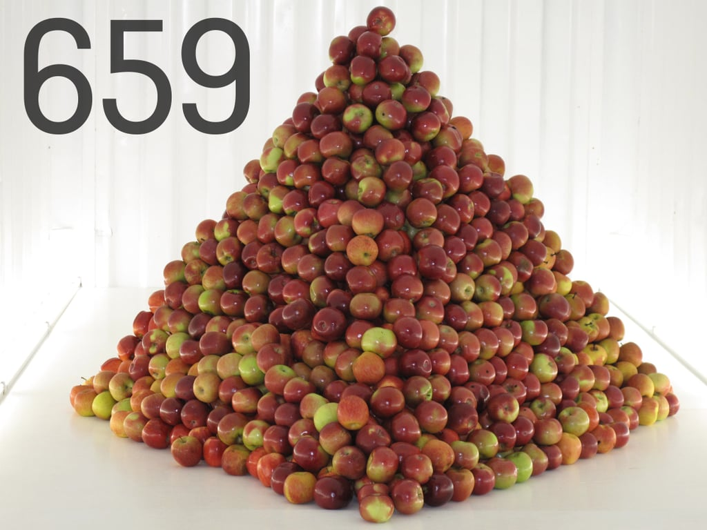 659: The fruit count in this Grand Tasting apple pyramid sculpture.