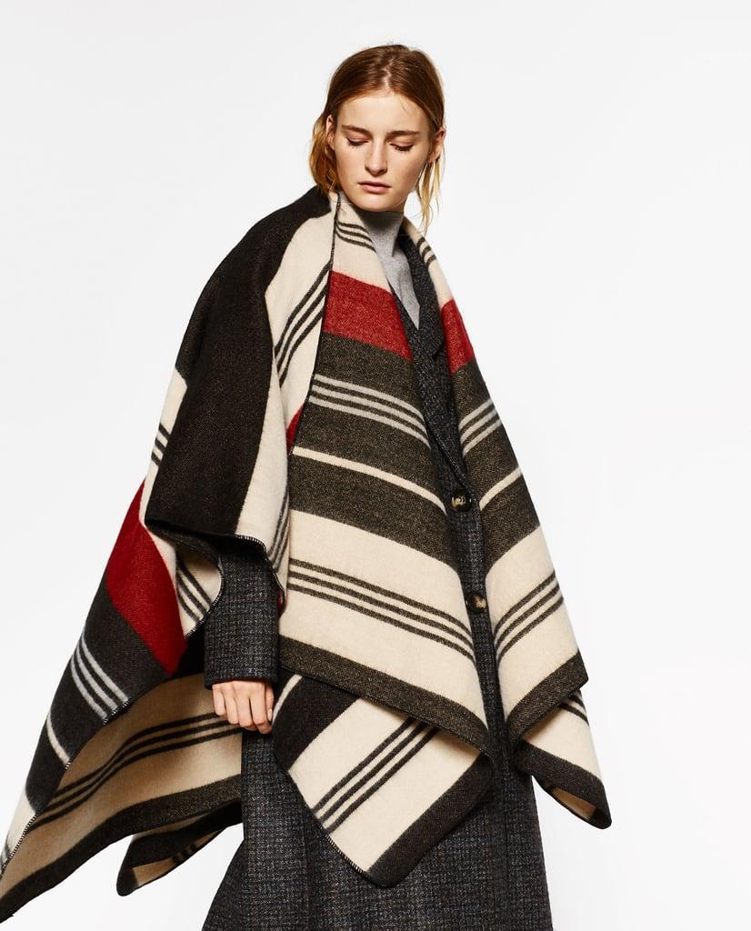 Zara Striped Poncho ($50)