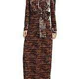 WAYF Arlene Tiger Print Long0Sleeve Wrap Velvet Maxi Dress
