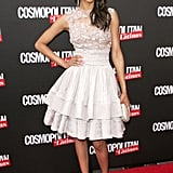 Zoe Saldana wore an embellished Elie Saab dress for the Cosmopolitan for Latinas launch party in NYC.