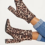 PrettyLittleThing Leopard Print Heel Ankle Boot