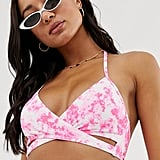 ASOS New Look Wrap Tie Dye Bikini Top in Pink