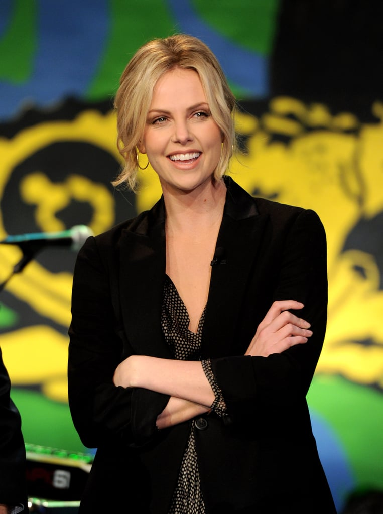 Charlize stayed around for the entire show.