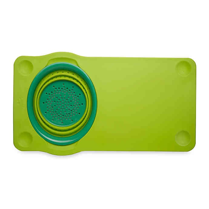 Squish Cutting Board with Collapsible Colander