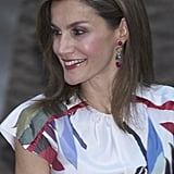 Letizia Made Sure to Amp Up Her Outfit With Drop Earings