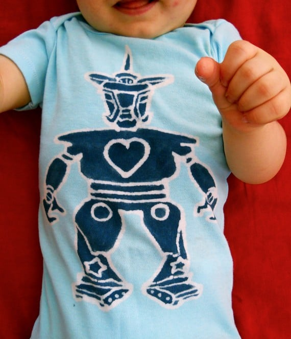 Robot in Love — Batik Baby Blue Onesie