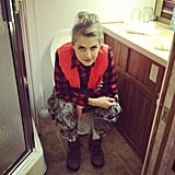 Eliza Coupe snapped a silly bathroom photo on the set of Happy Endings. Source: Instagram user elizamuthafuckincoupe
