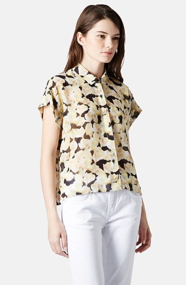 Topshop Floral-Print Button-Down