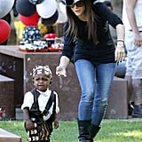 Sandra Bullock and Louis played games at a party in LA.
