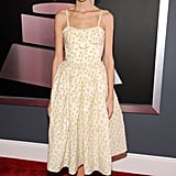 Alexa Chung took to the red carpet in a floral-print dress.