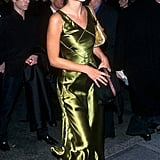 Wearing a green silk bias cut dress in March, 1999.