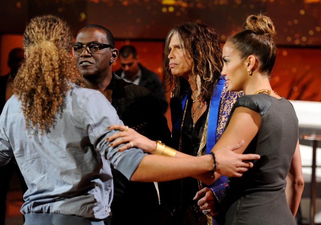 Jennifer Lopez and her American Idol judges were on set.